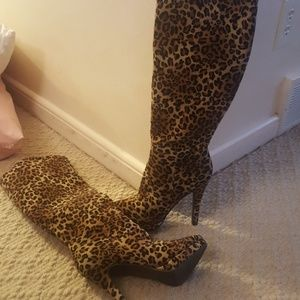 High heeled animal print boots